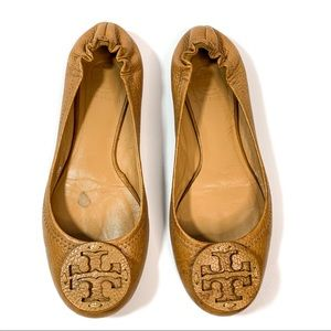 Tory Burch Reva brown all leather ballet flats 6.5